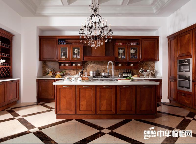 古典风格海尔橱柜图片 实木整体厨柜效果图