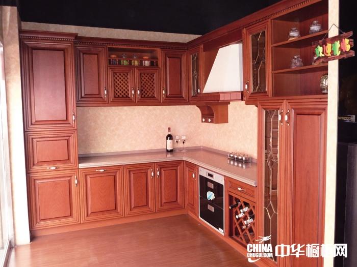 古典风格实木堂橱柜图片-整体橱柜效果图-红色实木橱柜图片欣赏