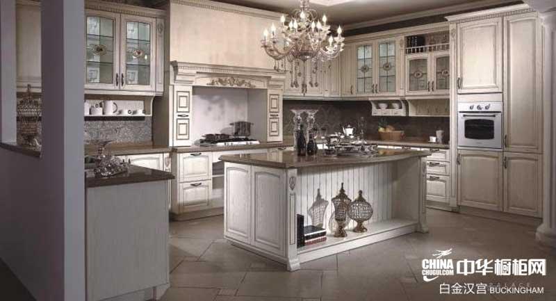 奶白色实木整体橱柜图片 益有橱柜图片整体橱柜产品图白金汉宫 欧式古典风格整体橱柜设计图