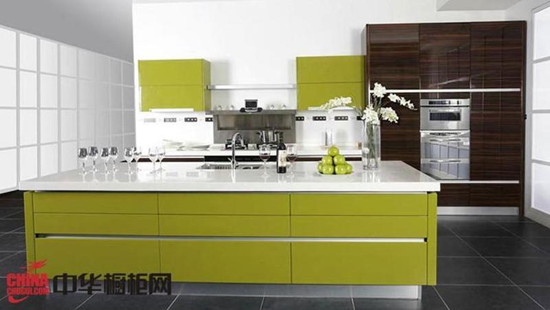 诺尔丽厨柜图片 现代简约风格整体橱柜效果图 草绿色烤漆橱柜图片