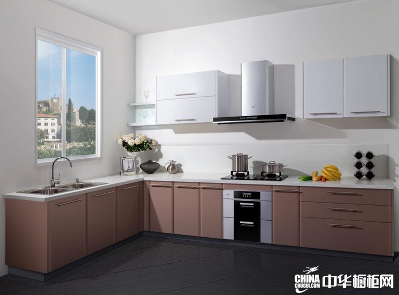 咖啡色烤漆橱柜图片 海尔橱柜产品唯一效果图 简约风格整体橱柜效果图