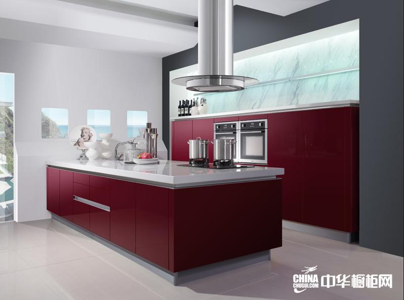 红色烤漆橱柜图片 海尔橱柜产品曼哈顿整体效果图 现代奢华系列整体橱柜效果图