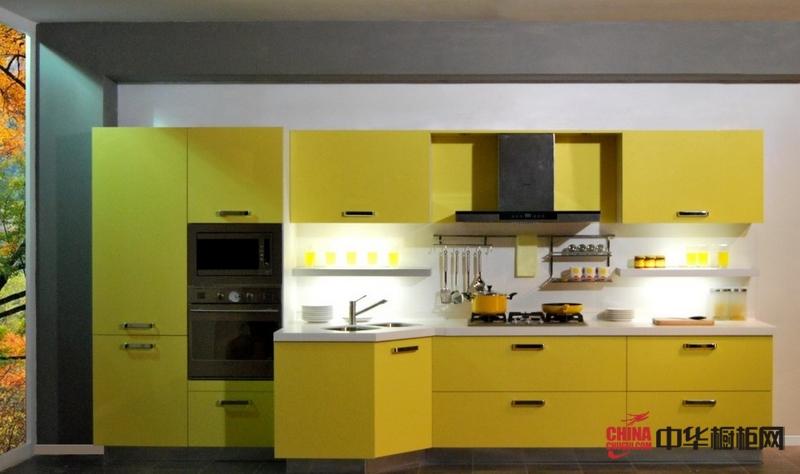 志邦厨柜烤漆橱柜图片 钻石印象黄色厨房装修效果图