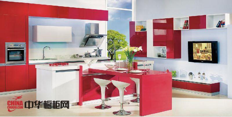 红色烤漆橱柜图片好来屋橱柜图片 简约风格整体橱柜效果图