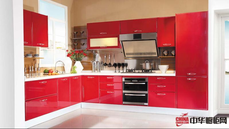 红色烤漆整体橱柜设计效果图 好兆头橱柜图片 厨房装修效果图大全2012图片