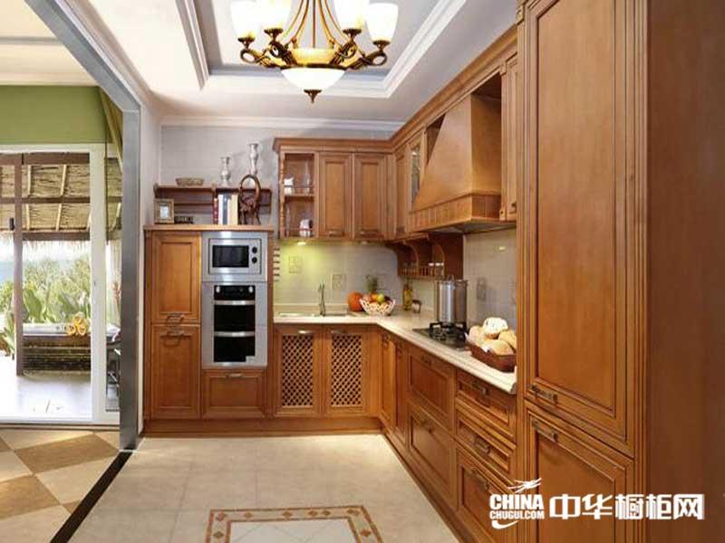 棕色实木整体橱柜图片 佳居乐橱柜整体橱柜产品图米列什蒂 欧式田园风格