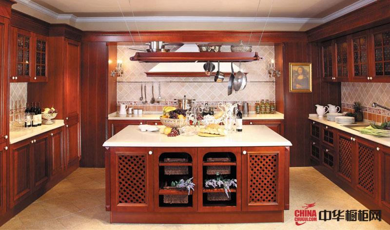 好兆头厨柜蒙娜丽莎达芬奇的灵感 古典风格实木橱柜图片 U型开放式厨房装修效果图