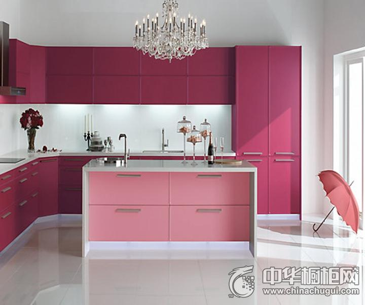 科勒橱柜效果图 粉色简约风格橱柜图片