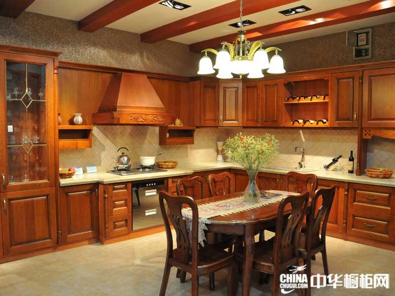 棕色实木整体橱柜图片 丽虹橱柜整体橱柜产品图 欧式古典风格