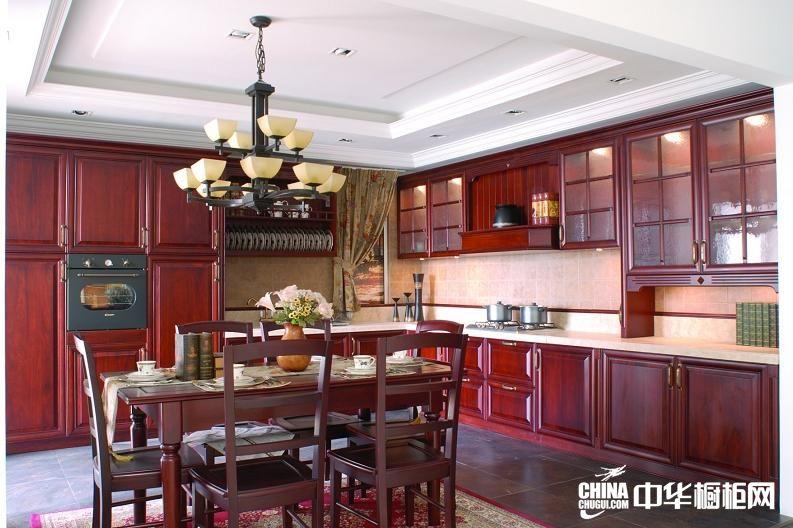 古典风格志邦厨柜图片 实木整体橱柜效果图