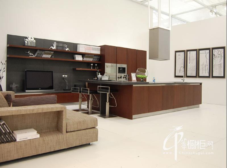 志邦橱柜图片 简约风格整体橱柜效果图 开放式厨房装修效果图欣赏