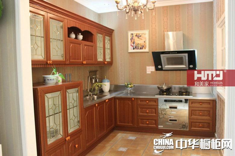 和美家白金厨柜    塑木系列    田园风格橱柜图片