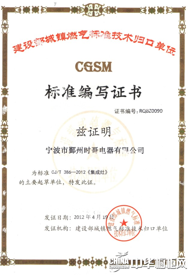 cgsm标准编写证书