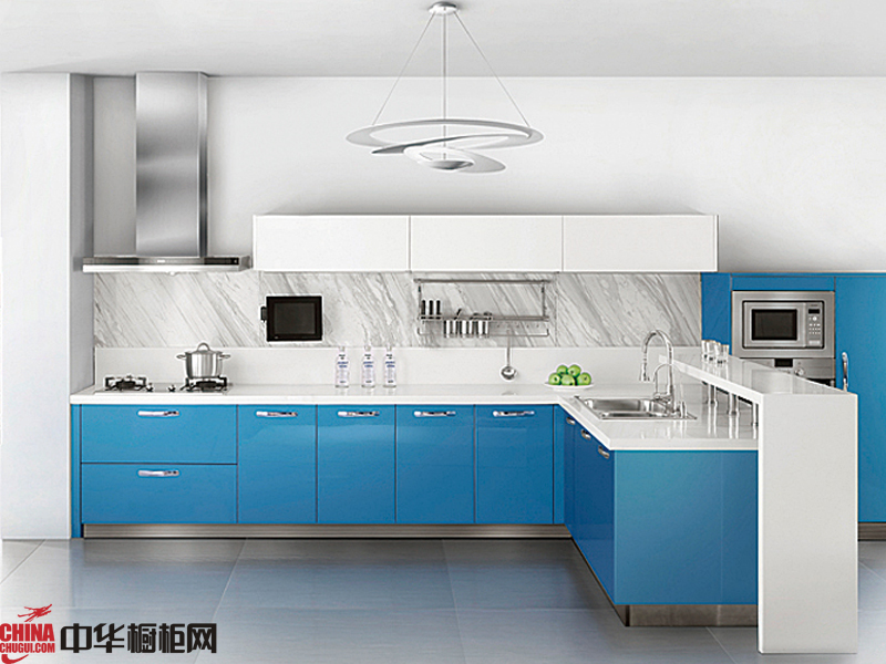 vifa威法橱柜图片 简欧风格整体橱柜图片 蓝色烤漆橱柜图片