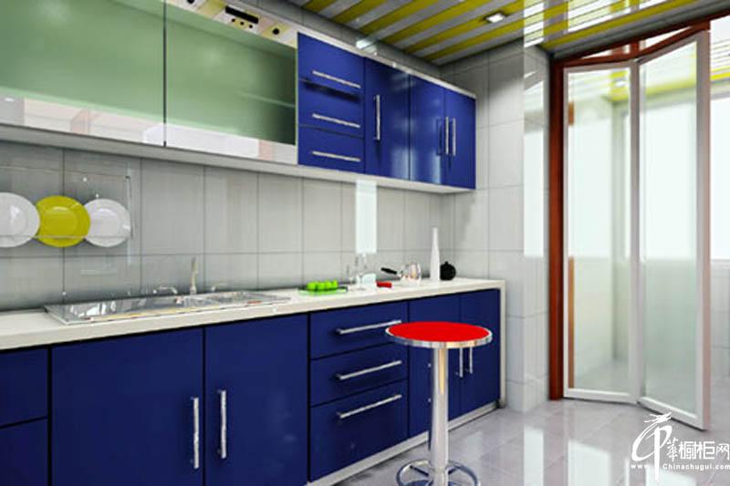 彩色橱柜蓝色调整体橱柜图片