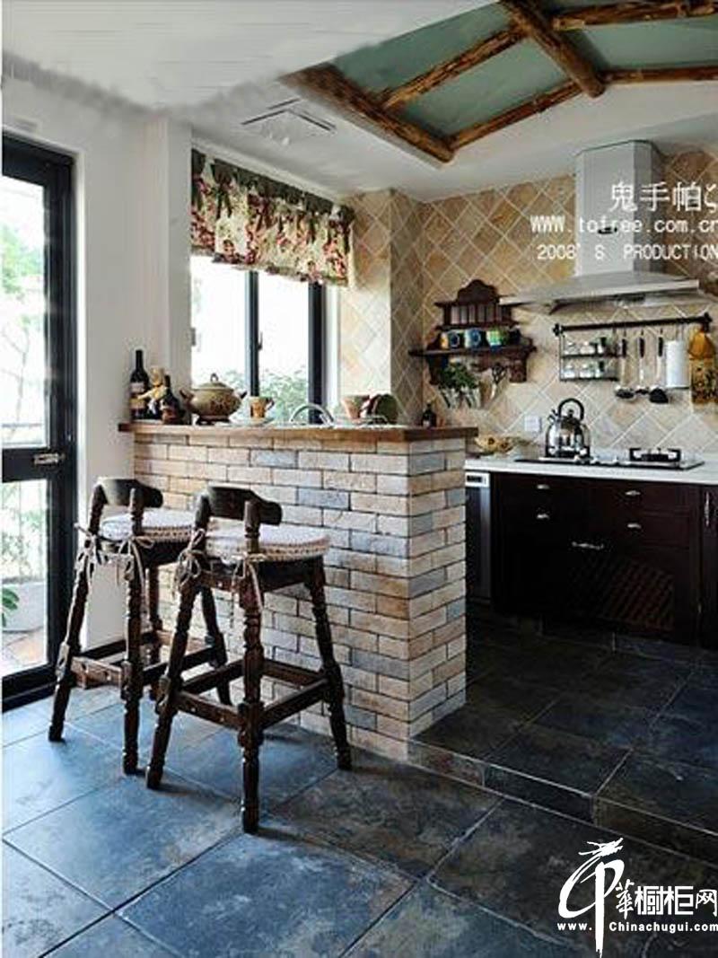砖砌小吧台实木橱柜设计图