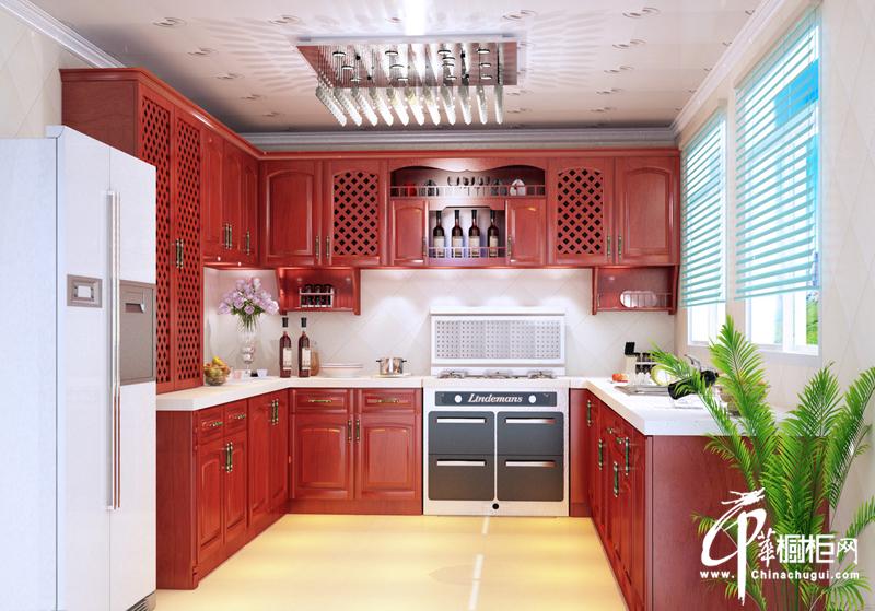 红色橱柜装修设计效果图