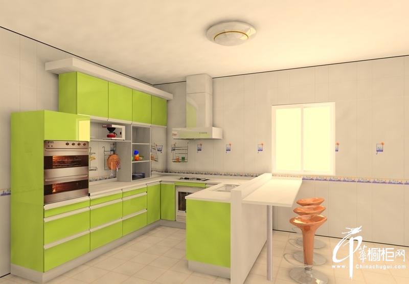 绿色清幽橱柜装修设计效果图
