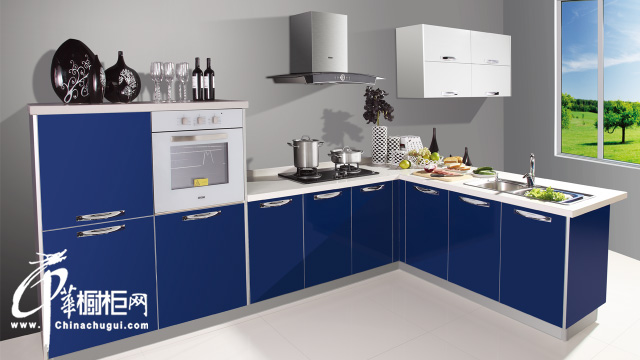 整体橱柜效果图欣赏 海蓝色橱柜设计