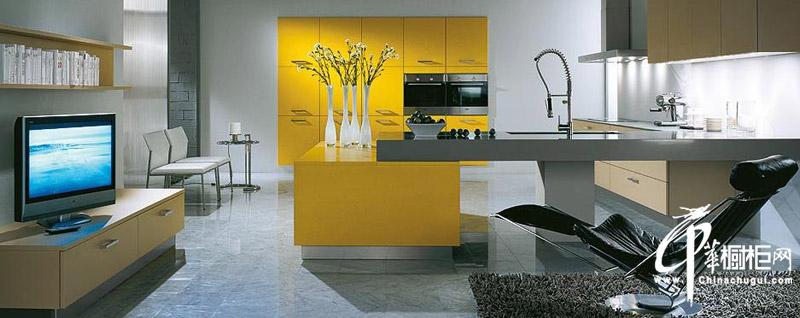 橙色烤漆不锈钢橱柜效果图 明亮简洁时尚大气