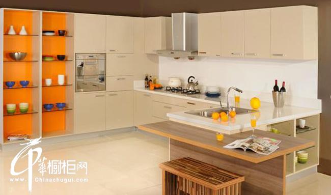 米色韩式橱柜效果美图欣赏 展示厨房装修效果图