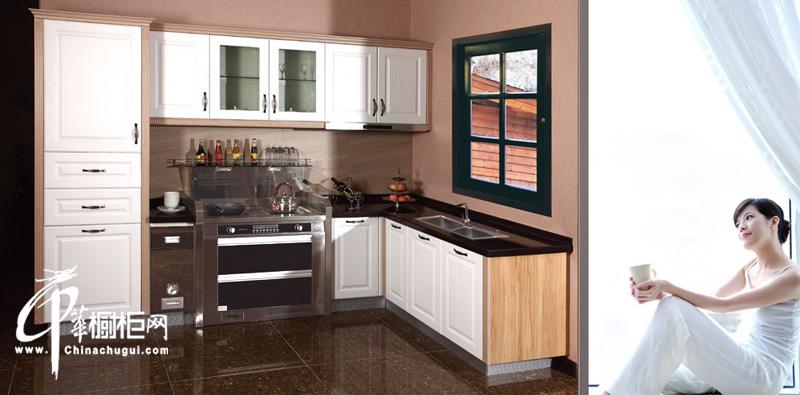 北欧主义风格整体橱柜设计效果图 奶白色橱柜搭配木色协调一致