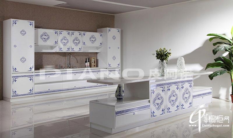 整体橱柜装修设计效果图 青瓷花影妆点时尚厨房