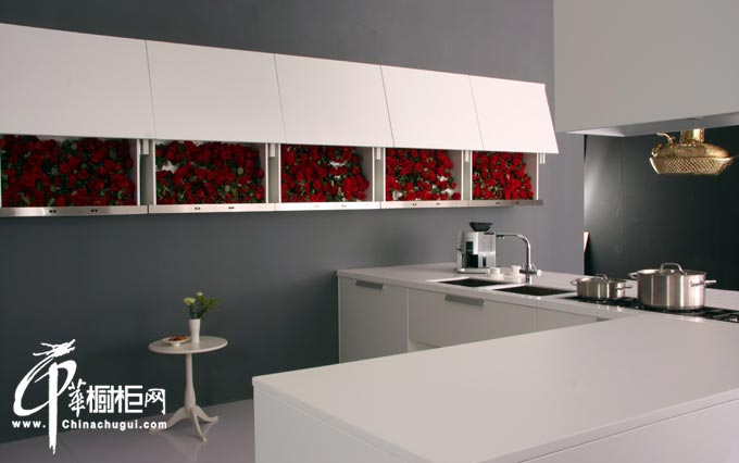 L型白色简约橱柜装修设计效果图片 厨房装修简约大气