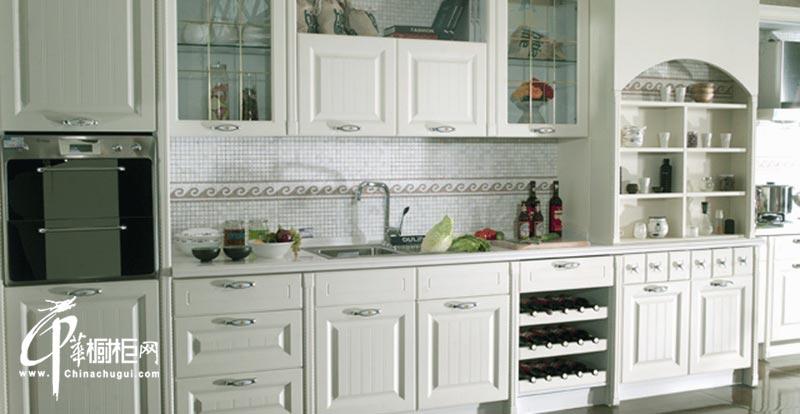 白色欧式古典实木橱柜设计效果图|厨房橱柜图片