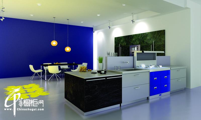 厨壹堂整体厨房ⅴ系名流集成系列/海洋风格整体橱柜 厨房装修效果图大全2012图片