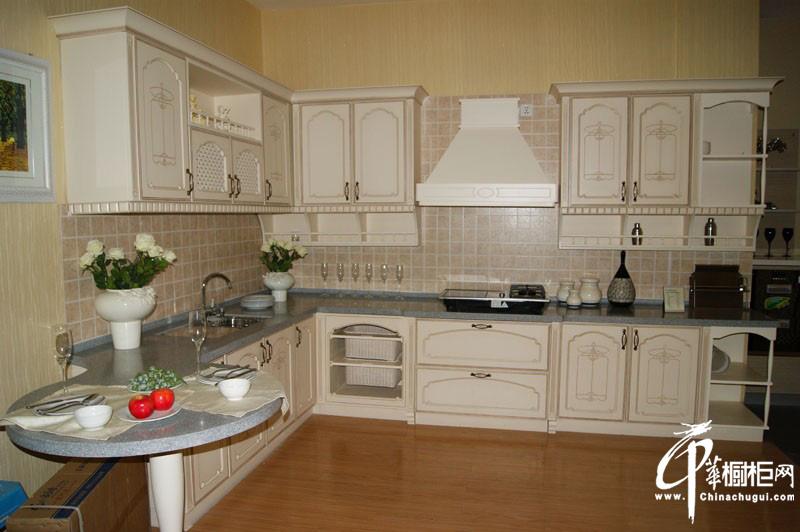 白色l型欧式橱柜图片|实木橱柜图片 白色厨房装修效果
