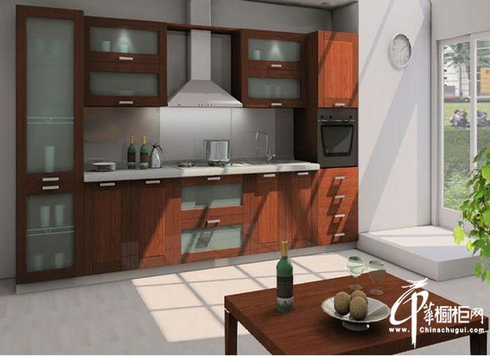 乡村风格实木橱柜图片 一字型小户型厨房装修装修效果