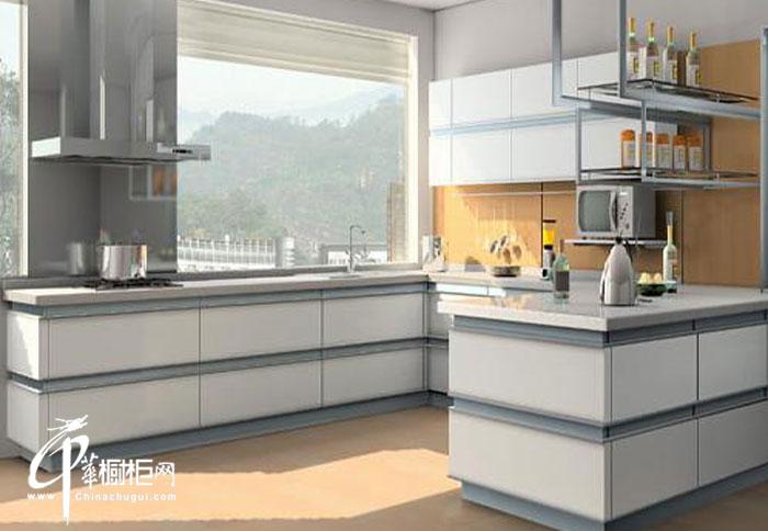 白色现代风格橱柜装修效果图 u型厨房装修效果图大全2012图片