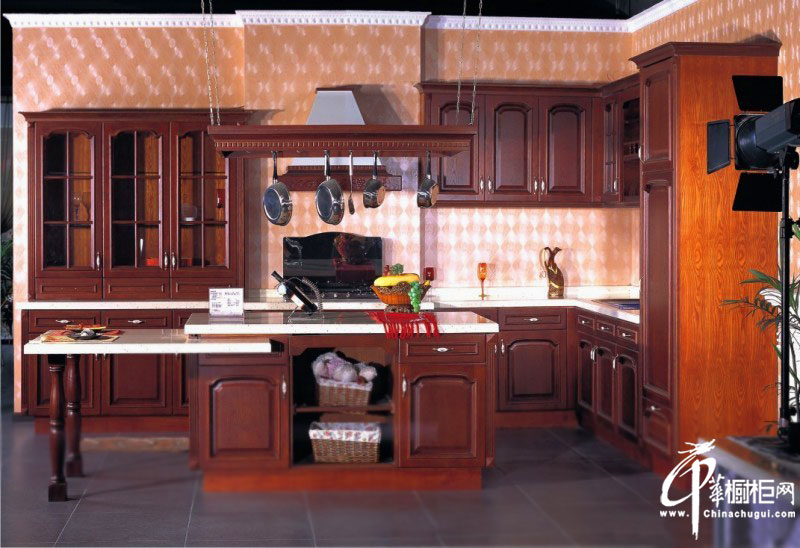 古典风格整体橱柜图片|欧式厨房装修效果图大全 开放式厨房图片