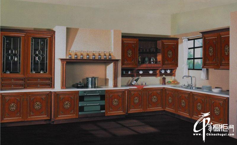 實木古典櫥柜裝修圖片|l型整體櫥柜設計效果圖 廚房裝修效果圖展示
