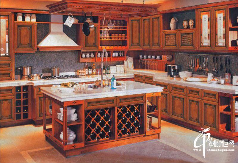 欧式橱柜装修设计图片|实木橱柜图片 田园风格大厨房装修效果图欣赏