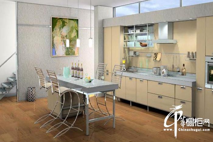 一字型简约橱柜装修效果图 小户型厨房装修效果图 开放是厨房厨餐一体化