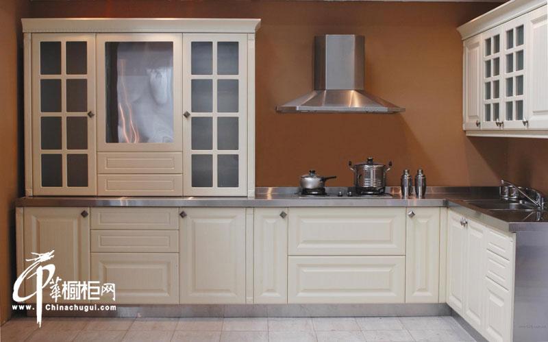 乳白色乡村风格整体橱柜装修设计图片 l型小厨房装修效果图大全2012图