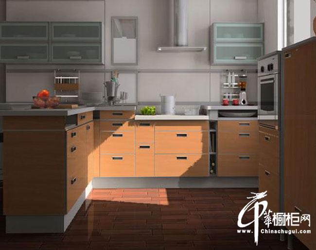 棕色整体橱柜装修效果图 简约风格U型厨房装修效果图欣赏
