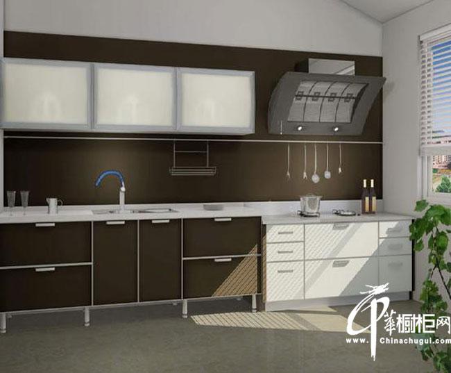 棕褐色一字型橱柜设计图片 小厨房装修效果图大全2012