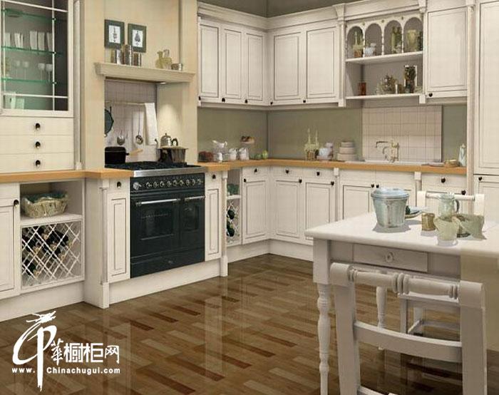 白色欧式田园风格整体橱柜图片 开放式厨房装修效果大全2012图片欣赏