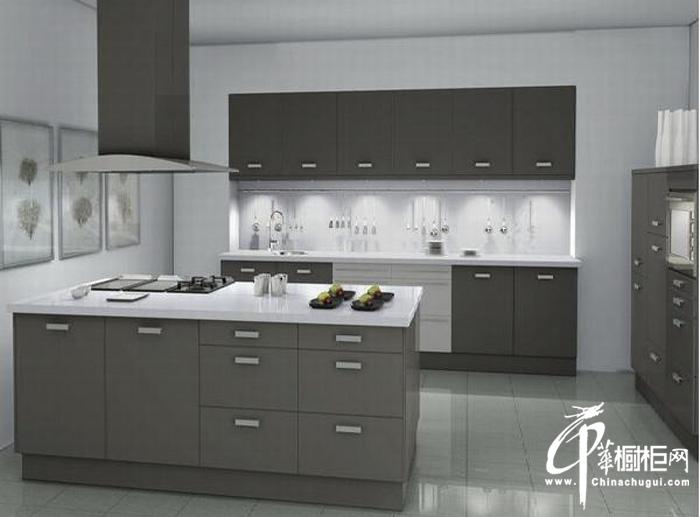 灰色冷色调整体橱柜设计图片 岛型厨房装修效果图大全2012图片展示