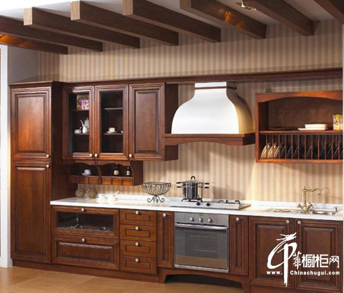 布达米亚——一字型整体橱柜装修设计效果图 古典风格小厨房装修效果图实木材质展示尊贵