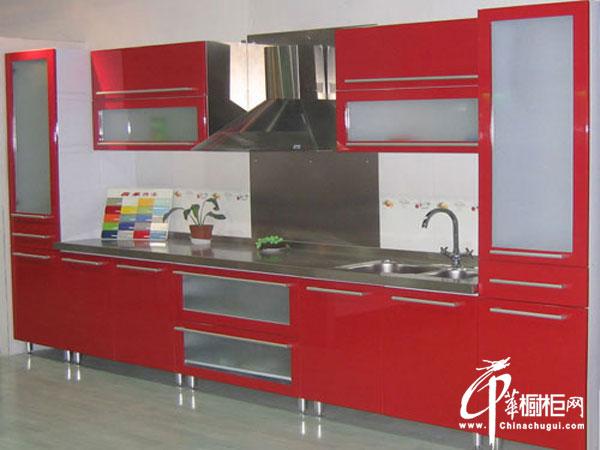 红色整体橱柜设计效果图 一字型小厨房装修效果图欣赏 2012最新开放式整体橱柜
