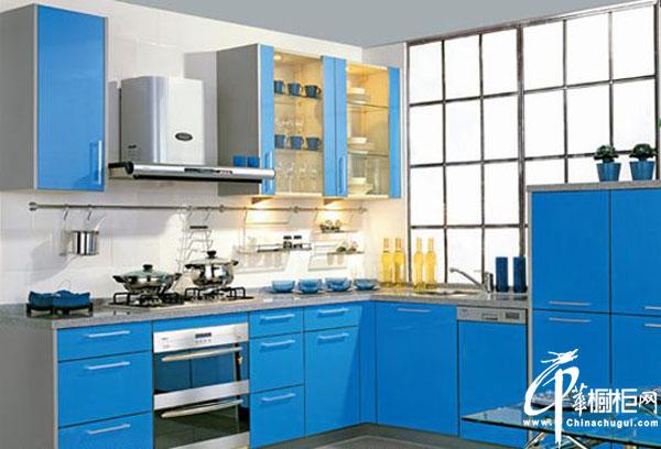 蓝色简约风格橱柜 蓝色L型整体橱柜效果美图