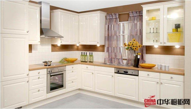白色实木整体橱柜装修设计样板图 L型欧式风格厨房装修效果图大全2012图片-奥维特