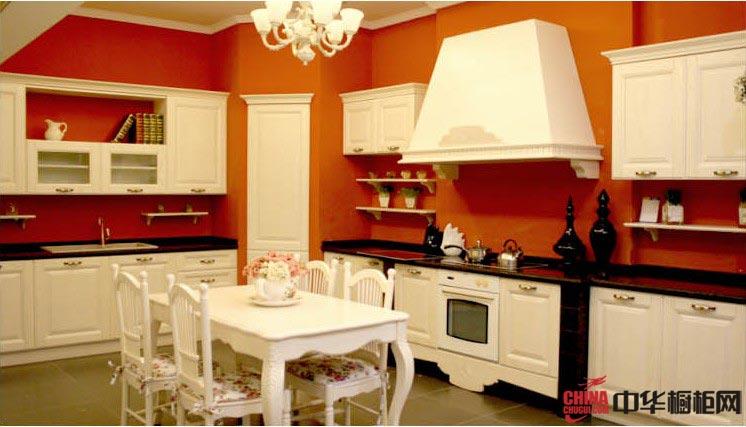 欧式田园风格厨房装修效果图-白色实木橱柜打造乡村气息