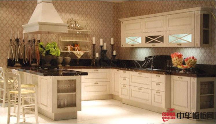 欧式风格u型实木整体橱柜装修设计图片 优雅的大厨房装修效果图大全