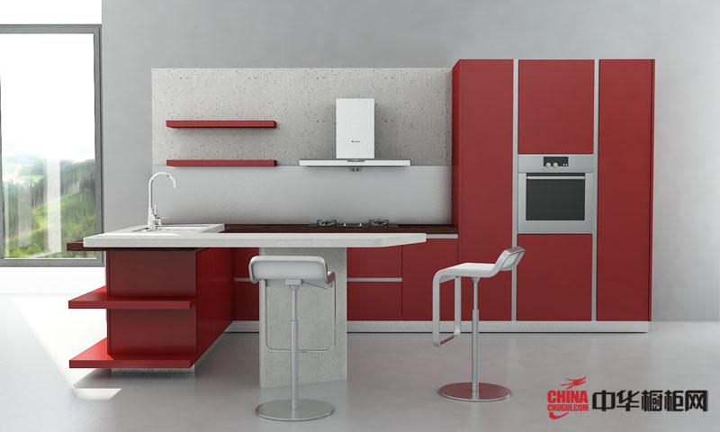 红色烤漆橱柜装修图片 清新明亮的现代风格厨房装修效果图