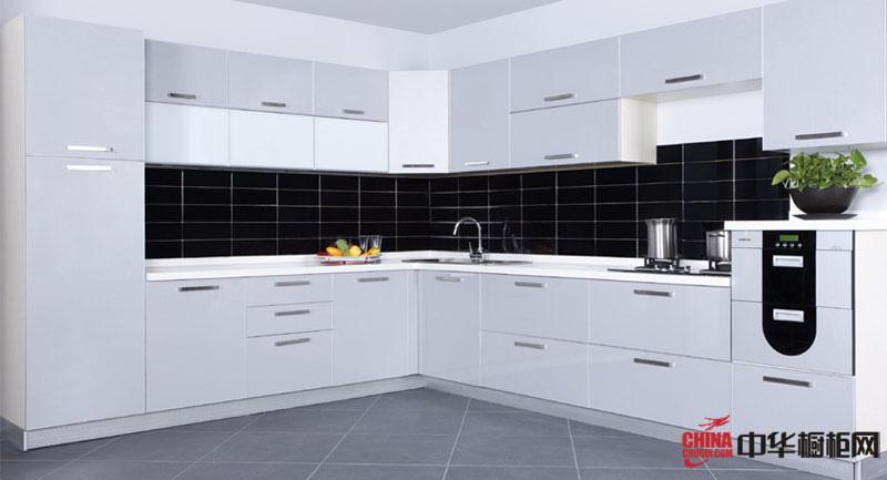 現代簡約風格廚房裝修效果圖 l型黑白經典設計整體櫥柜圖片展現潮流